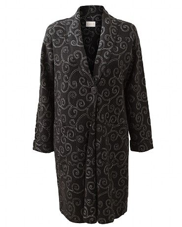 Embroidered Wool Coat Keep warm and look effortlessly stylish in our Embroidered Boiled Wool Coat this season. It features functional front pockets, a stylish revere collar and statement button design. This coat is made from pure wool, great for the weekend or evenings out.
