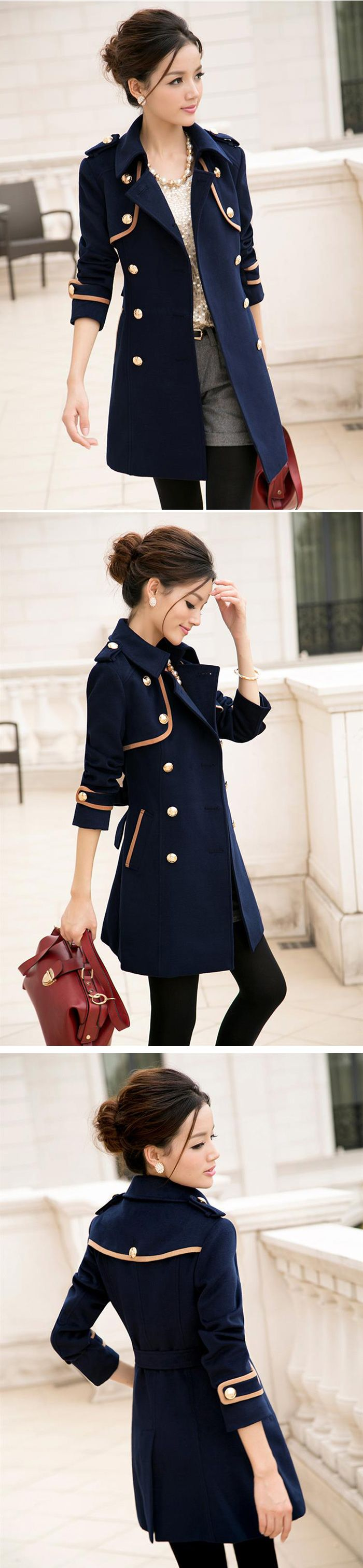 Elegant Style Color Block Trench Coat, Shop online for $52.50 Cheap Trench Coats code 712173 - Eastclothes.com