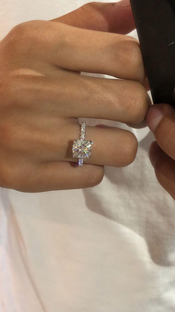 2 Carat Cushion Moissanite & Diamond Hidden Halo Engagement Ring – Raven Fine Jewelers