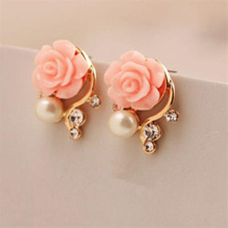 Earrings New Women Korean OL style pink crystal pearl asymmetric double-sided stud earrings