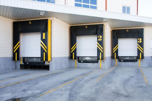 Large Bay Doors : Large industrial loading bay blue seal doors design