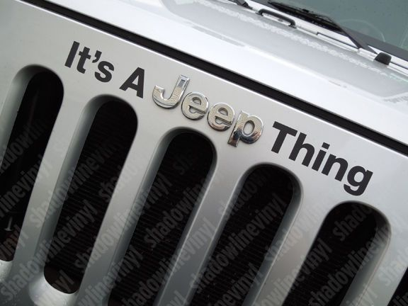 JEEP Wrangler Jeep Thing Hood Emblem Vinyl Decal Sticker JK Sahara Rubicon
