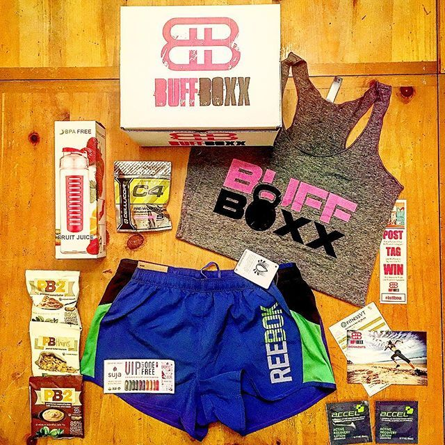 "Join @buffboxx! Monthly boxes curated with @reebok apparel and brand name fitness goods. A portion of proceeds goes to the charity of your choice! Use code ""PINTEREST"" (all caps) for 15% off!"
