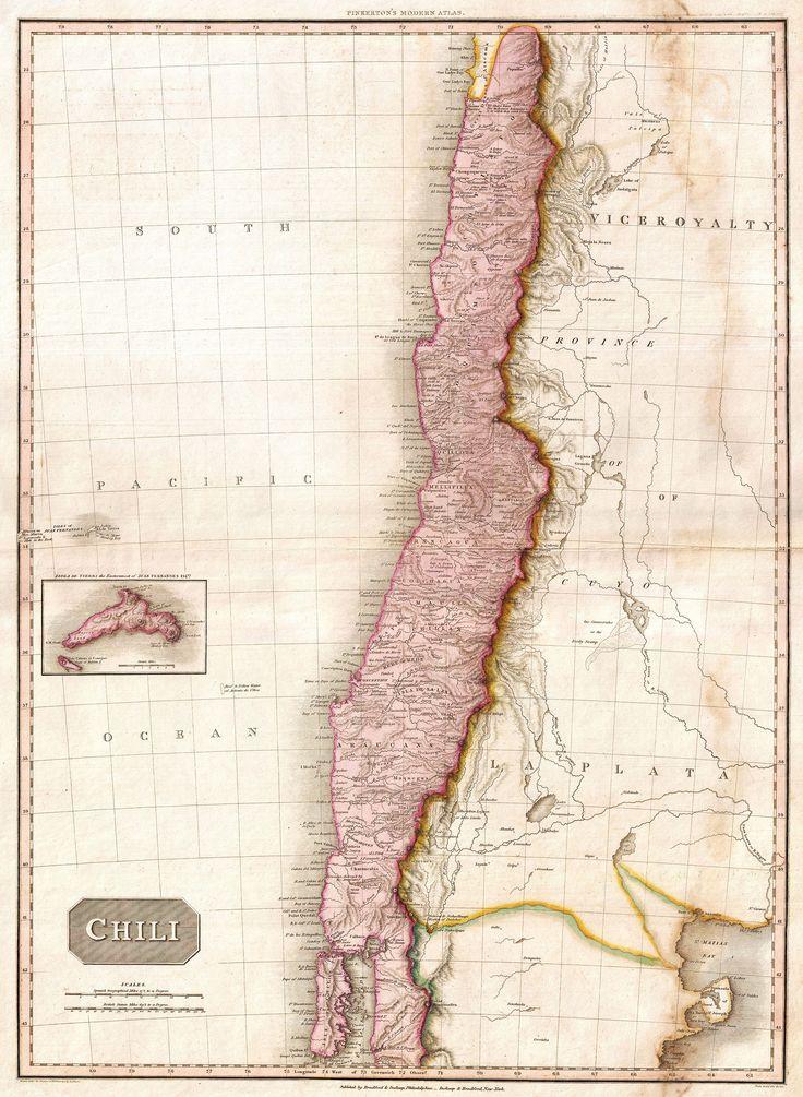CHILE, 1818. Mapa publicado en la edición americana del Modern Atlas de Pinkerton, publicado por Thomas Dobson & Co. de Filadelfia en 1818.