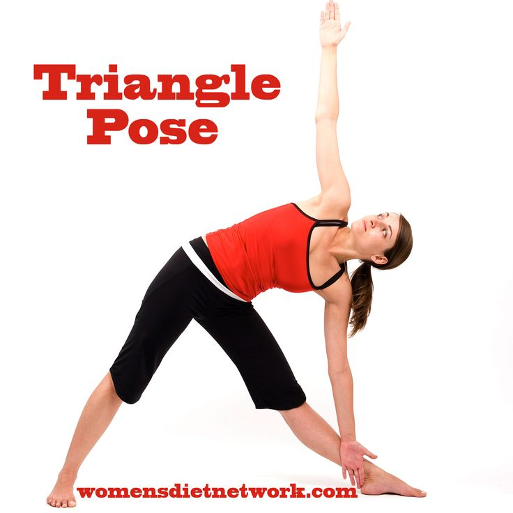 TRIANGLE POSE: Great for anyone with back pain issues, displaced spinal discs, arthritis of the lower back and dorsal region, stiff shoulders, and sciatica. Can also correct a hunched back and if practiced regularly. Great for those with deformed or weak legs, tight hamstrings, knee and ankle problems and flat feet. Click for more benefits of Yoga on our blog.