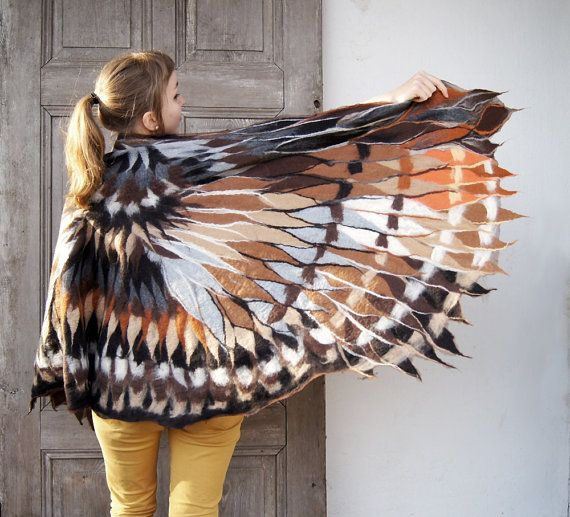 Impressive wing scarf nuno felted brown owl winged by filcAlki