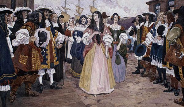 """""""The Arrival of the French Girls at Quebec, 1667."""" C.W. Jefferys. Library and Archives Canada, Acc. No. 1990-568-1"""