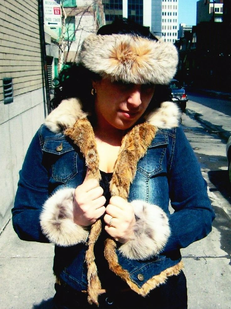 #lynx #fur #headband and lynx fur lined #denim Jacket made to order