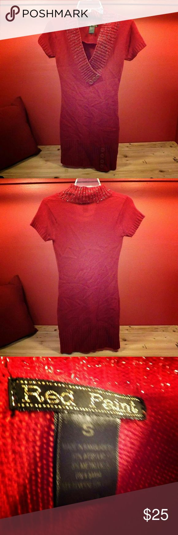 Red Paint Super Cute Red Dress! This Red Paint dress is the definition of cute! Without a doubt this dress with make you look your best!(: on top of that this dress will keep you nice and warm in the colder weather! Offers are welcomed!(: red paint Dresses