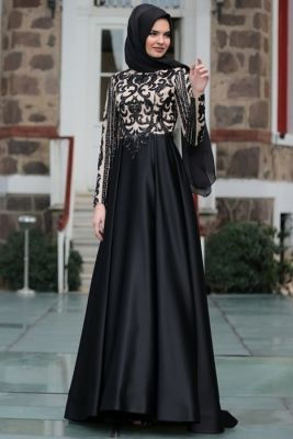 Hilal Baş Siyah Aymira Kabarık Tesettür Abiye Elbise