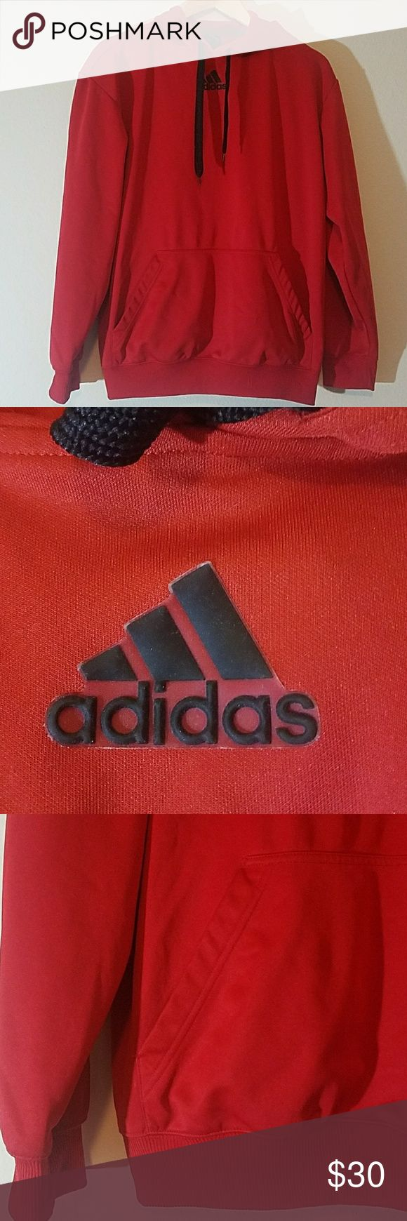 Adidas Hoodie Mens size Medium. Drawstring Hoodie. Front pocket. Front logo is a rubber applique. No stains or flaws. adidas Jackets & Coats Performance Jackets