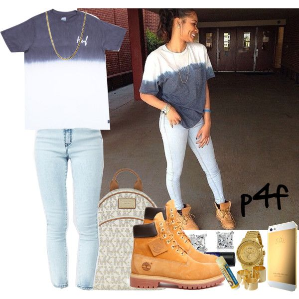 Passion 4Fashion: Dipped Tee by shygurl1 on Polyvore featuring HUF, MICHAEL Michael Kors, Versus, Blue Nile, Monki, Rimmel and Timberland