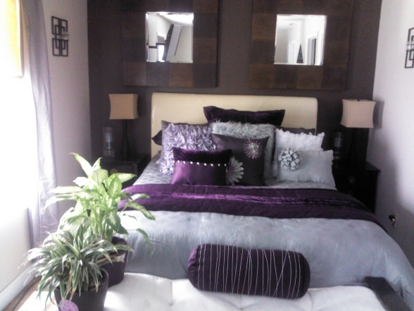 Grey, Neutral Bedroom With Purple Accents