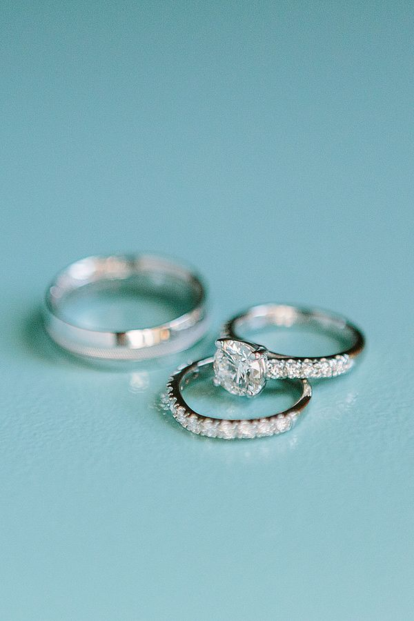 diamond and white gold rings, photo by Matt Edge http://ruffledblog.com/southern-inspired-wedding #diamonds #engagementrings #ring