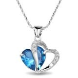 """925 Silver Diamond Accent Heart Shape Pendant with 18"""" Silver Necklace"""