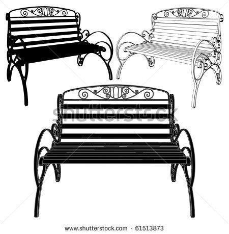 Park Bench Silhouette Stock Vectors Vector Clip Art