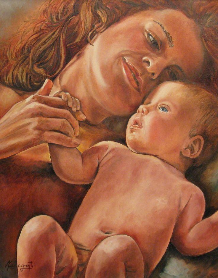 """""""Maternità"""" olio su tela (40 x 50) Dipinto su fondo oro."""
