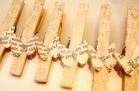 Butterfly and Lace Embellished Clothespins