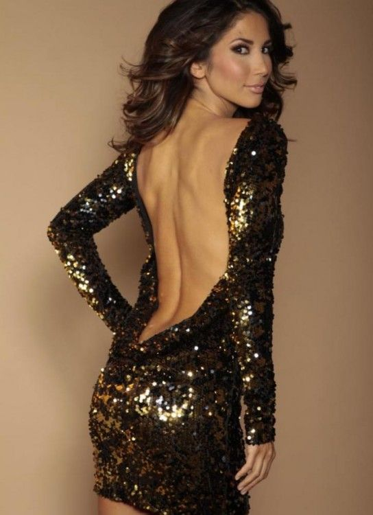 i wish--- this is hot ---Black Sexy Dress - Black and Gold flip sequin