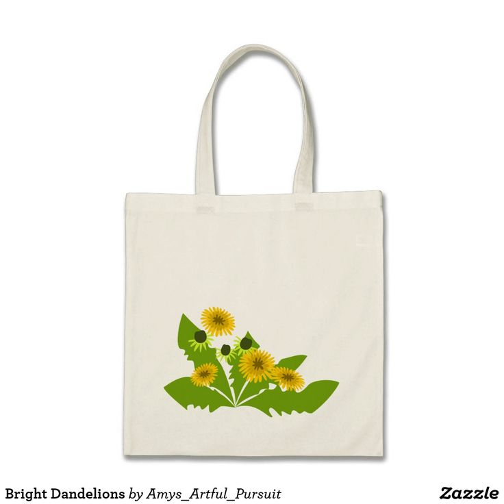 Bright Dandelions Canvas Bag  A sturdy bag to carry your groceries in decorated with an original design of dandelion flowers.  As the most recognizable wildflower, dandelions make a fun bright statement on this reusable bag.