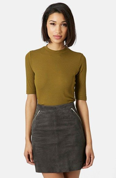 $25. Topshop: Ribbed Funnel Neck Top. Not sure if this sleeve works for me but this color (and Rust) are great