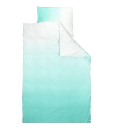 Degradé mint dekbedovertrekset voor 1 persoon, 140x200/220 cm met instopstrook, geschikt voor dekbedden tot 220 cm lang, inclusief 1 kussensloop 60x70cm.