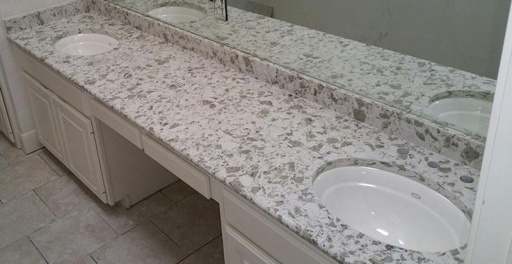 Alaska white vicostone quartz countertop bathroom for Bathroom ideas with quartz