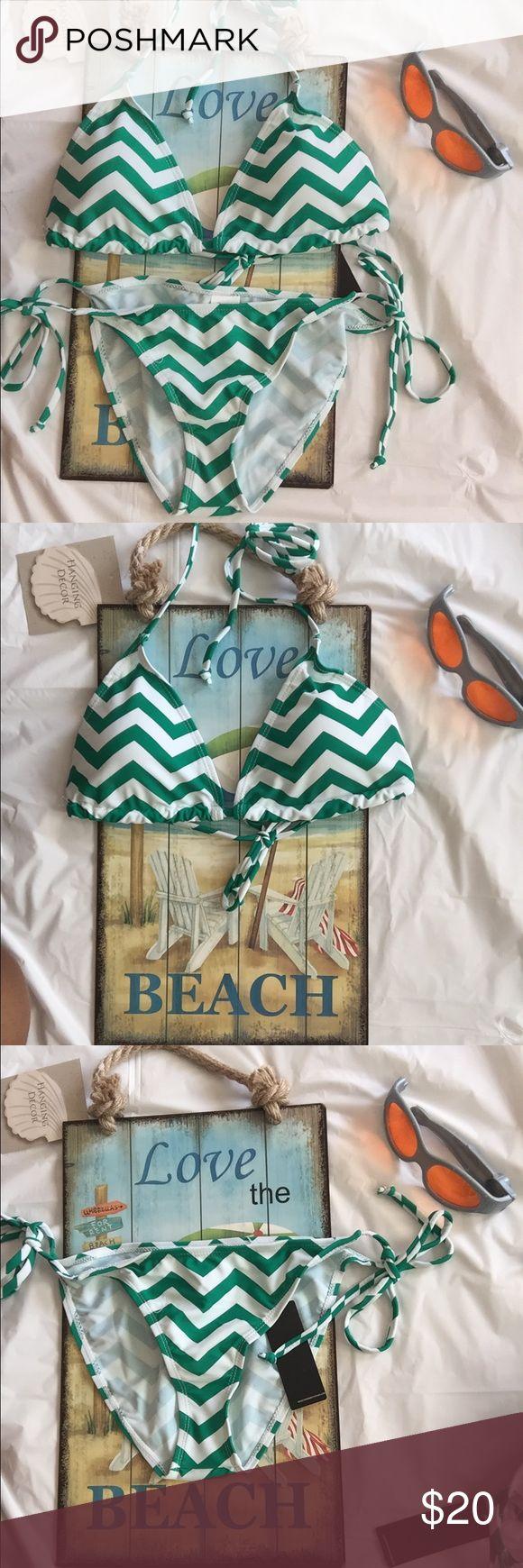 Chevron Bikini Green and white chevron bikini Swim Bikinis
