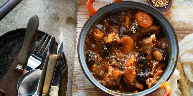 Boodschappen - Kippenstoof met pruimen en abrikozen
