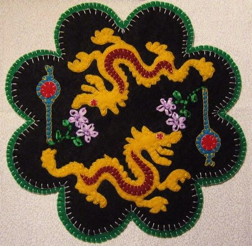 Dragon Lantern Candle Mat Penny Rug With Flowers PATTERN