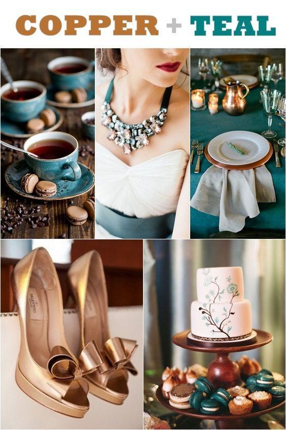Copper Teal Wedding Ideas Wedding Ideas, Fall Wedding, Fall Colors, Jewel tones, Teal wedding bridesmaids, Blue-green colors, Green and dark cyan, Blue ocean, Maxi teal, Blue peacock wedding colors.