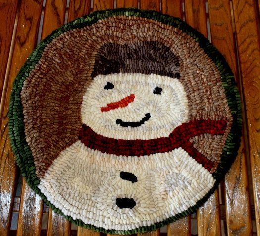 Primitive Snowman Hooked Chair Pad