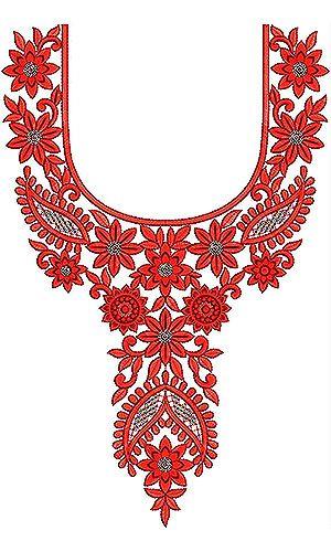 Boho Chic Neck Yoke Gala Sequin Embroidery Design