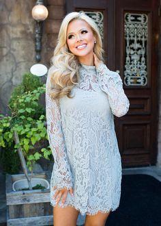 Dress, Short Dress,Mint Dress, lace Dress, Long Sleeve Dress, high Neck Dress, Cute, fashion, Online boutique