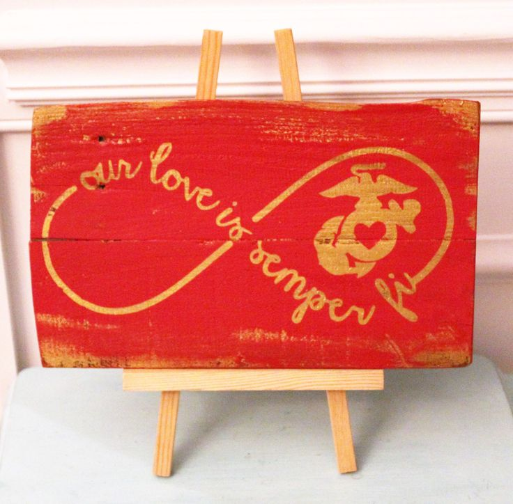 Our Love Is Semper Fi Rustic Wood Sign - USMC Wedding Sign - Marine Love Infinity Circle - US Marine Corps Wife Gift - Handmade And Painted