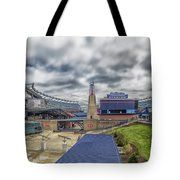 Gillette Stadium And The Hall At Patriot Place Tote Bag by Brian MacLean