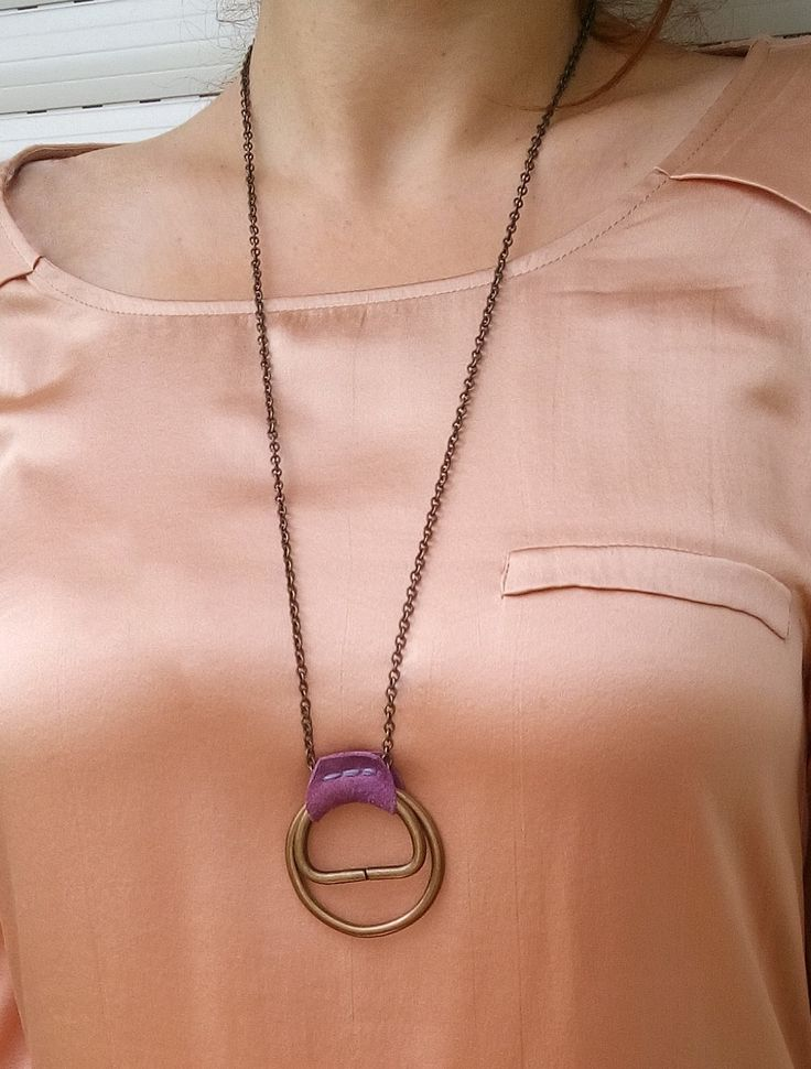 Bronze Hoops & Leather Pendant Necklace, Metal Rings and Leather Neckace, D-Rings and Leather Necklace, Boho Ring Leather Pendant Necklace