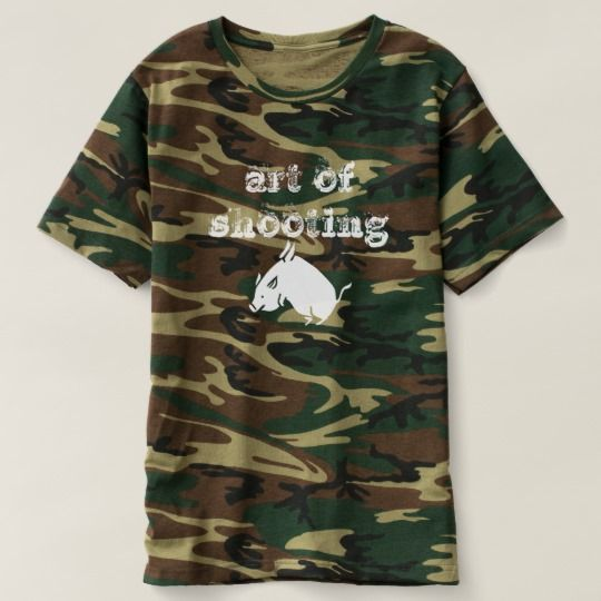art of shooting flying pig T-Shirt a camouflage t-shit the the text in white colour art of shooting and a font of a white flying pig.