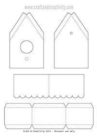 Paper birdhouse with template - by Craft & Creativity