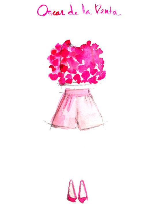 : Oscar De La Renta, Fashion Sketches, Fashion Art, Oscardelarenta, Pink, Oscars, Fashion Designers, Drawing, Fashion Illustrations