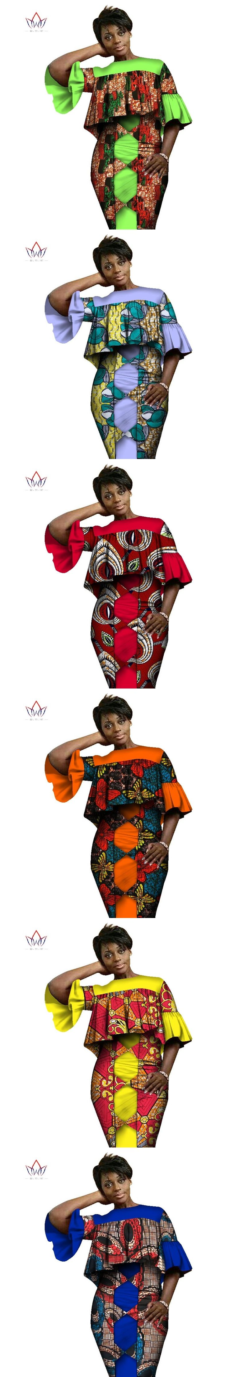 Loose Women Clothing 2017 African Strap Dress+Top Lady Suits Dashiki Plus Size Suits Traditional African Clothing WY1431