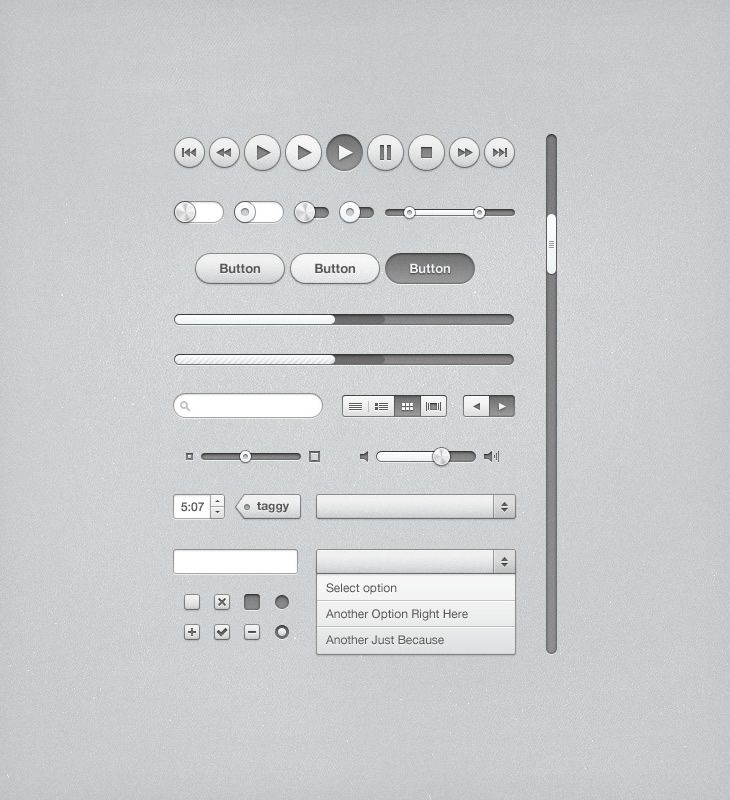 iTunes Inspired UI Kit - http://grapehic.com/itunes-inspired-ui-kit/photoshop/psd