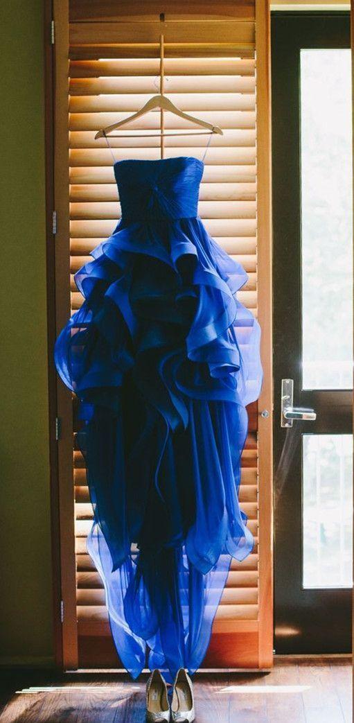 2016 Custom Charming Blue High-Low Prom Dress,Sexy Spaghetti Straps Evening…