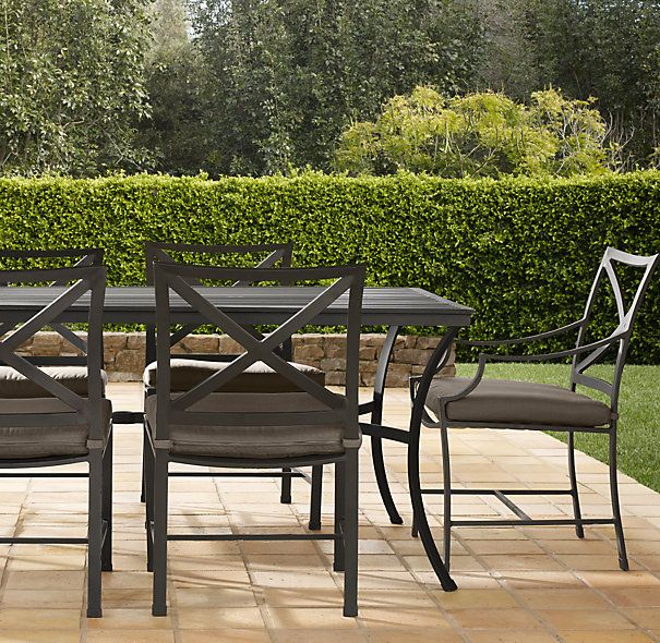 72 carmel rectangular dining set painted metal set of for Restoration hardware outdoor dining