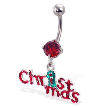 Christmas belly button ring