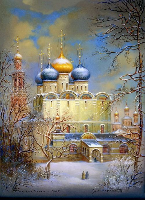 Fedoskino contemporary artists - Gold domes of Russia – painting on lacquer boxes. The work of Fedoskino artists
