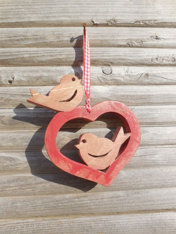 Wood Hanging Valentine Love birds with heart by DesertHeartsCo on Etsy