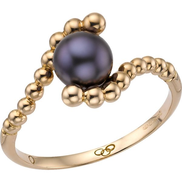 Links of London Effervescence Black Mini Pearl Ring (8,390 MXN) ❤ liked on Polyvore featuring jewelry, rings, links of london jewellery, pearl stacking ring, pearl ring, links of london rings and links of london