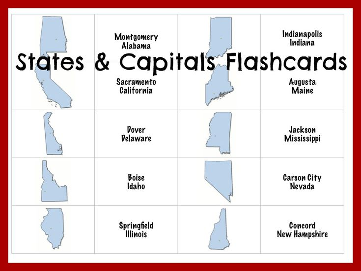 free states and capitals flashcards - Learning States and Capitals with Family Game Night!