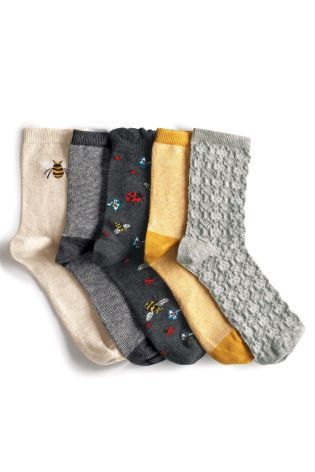 Buy Grey Pattern Bee Stripe Socks Five Pack from the Next UK online shop